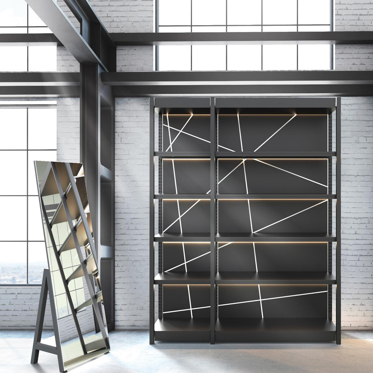 Line 9 <p><strong>Free standing mirror and Modular shelving system</strong></p> <p>Free standing mirror in matt black with back shelf.<br /> Modular shelving system / metal elements in matt black / shelves, platform and top in matt black chipboard / back panel in matt black chipboard with UV printed decoration / lightning system on top and shelves integrated on the metal structure.</p>