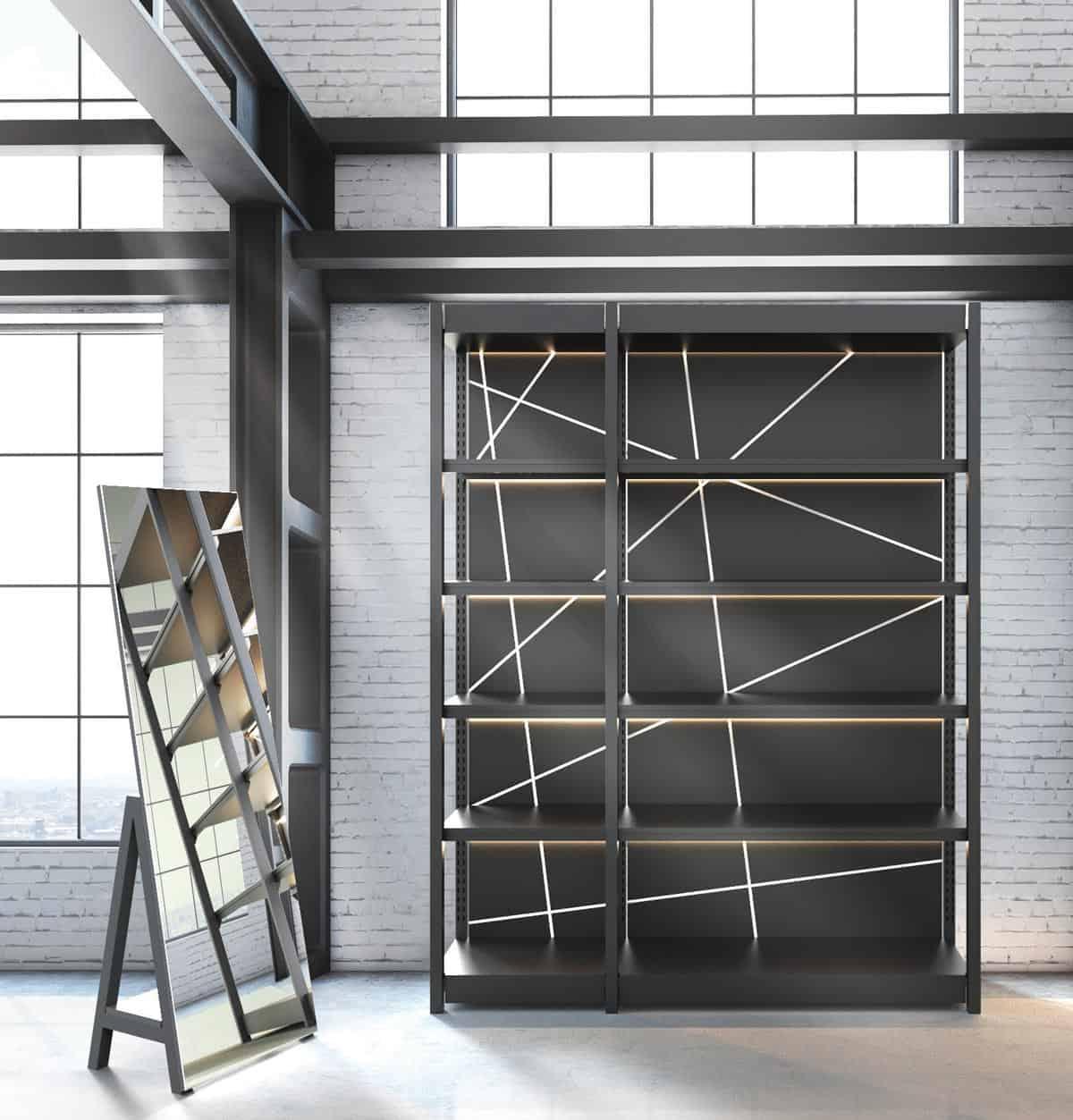Linea 9 <p><strong>Specchio autoportante e Scaffalatura modulare</strong></p> <p>Specchio autoportante finitura nero opaco con ripiano posteriore.<br /> Scaffalatura modulare / elementi metallici finitura nero opaco / ripiani, pedana e top in nobilitato nero opaco / schiena in nobilitato nero opaco stampata con tecnologia UV / sistema di illuminazione top e ripiani integrato nella struttura.</p>
