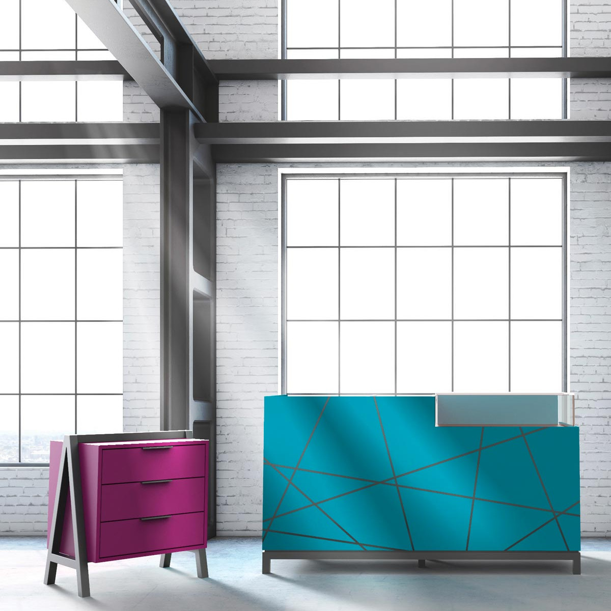Line 9 <p><strong>Chest of drawers and Counter</strong></p> <p>Chest of drawers painted in purple violet chipboard / drawers mounted on soft closing rails with painted frontal and matt black handles / metal elements in matt black.<br /> Counter in painted water blue chipboard with UV printed decoration (frontal and sides) / glass case with pull-out tray / metal basement in matt black.</p>