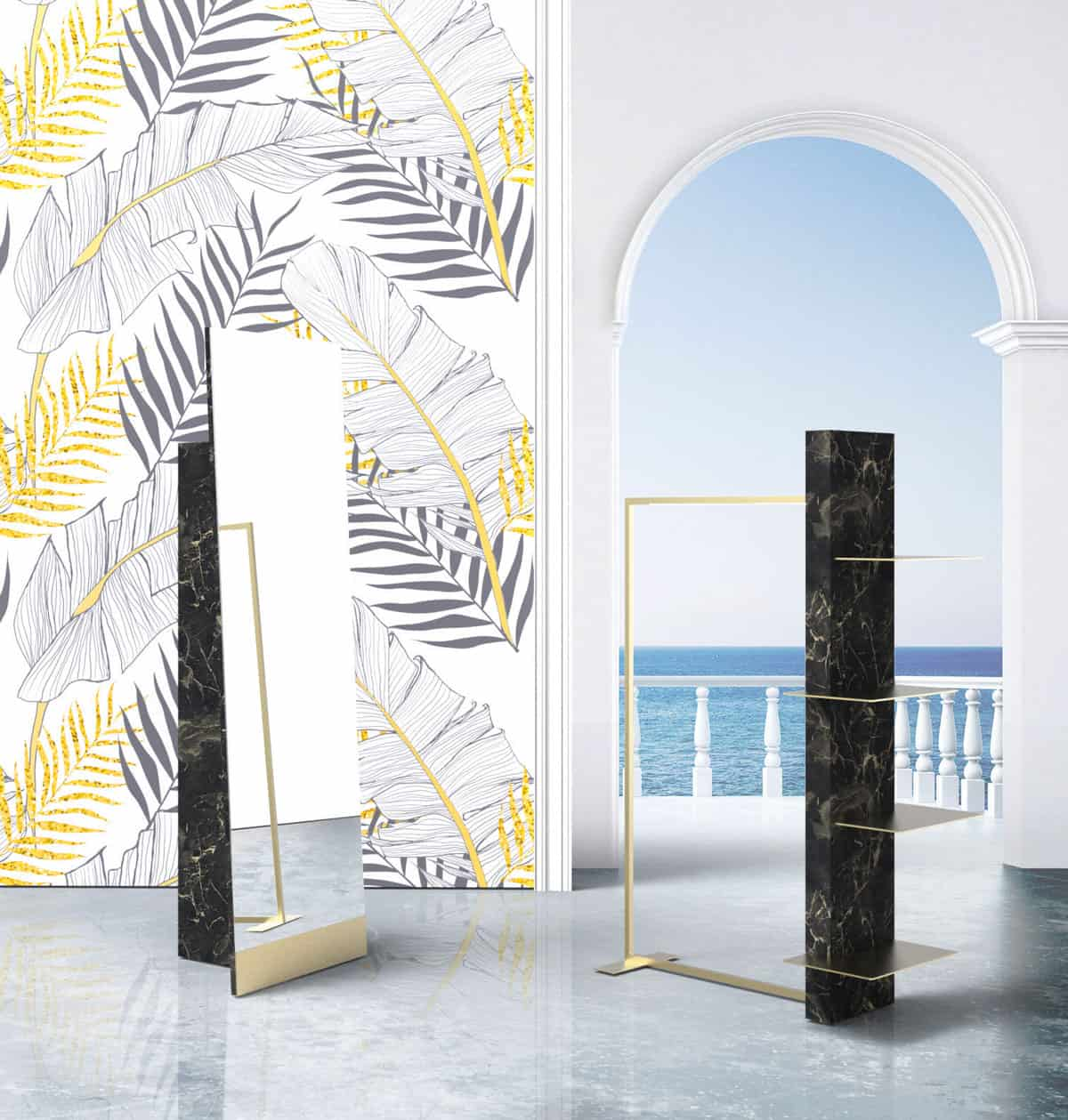 Line 4 <p><strong>Self standing mirror and display unit</strong></p> <p>Self standing mirror in black marble<br /> Display unit in black marble / hanging bar and metal shelves in brushed brass.</p>