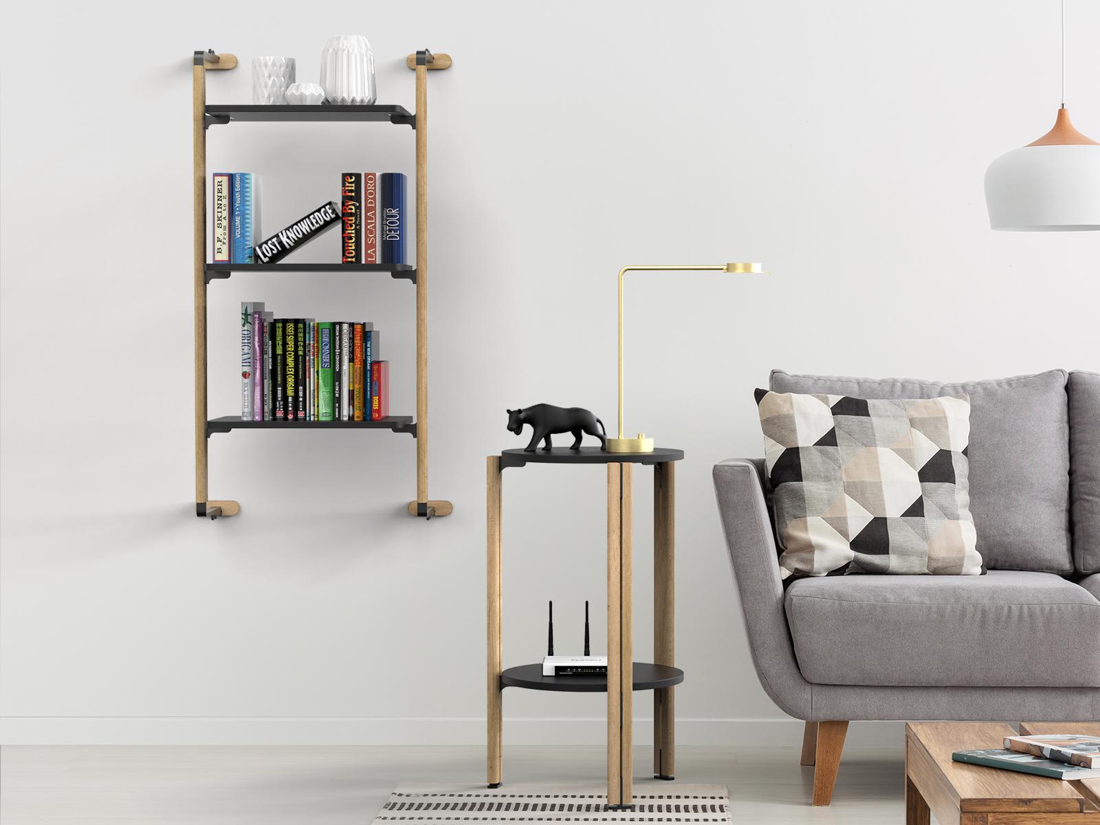 Declina un sistema espositivo a parete come libreria.